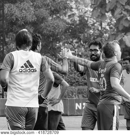 Delhi, India - July 01 2018: Footballers Of Local Football Team During Game In Regional Derby Champi