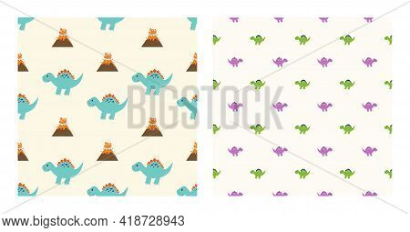 Cute Cartoon Characters Stegosaurus Dinosaurs With Seamless Pattern To Wallpaper Background, Posters