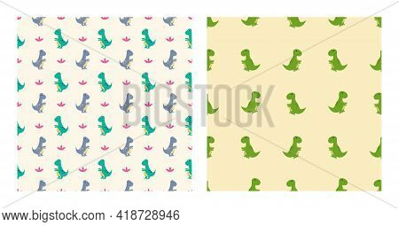 Cute Cartoon Characters Tyrannosaurus Dinosaurs With Seamless Pattern To Wallpaper Background, Poste
