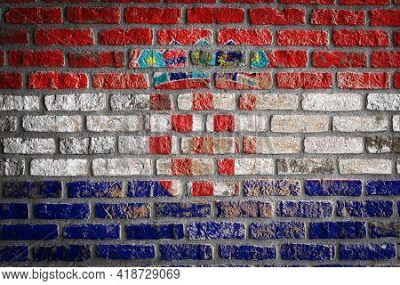 National Flag Of Croatia  Depicting In Paint Colors On An Old Brick Wall. Flag  Banner On Brick Wall