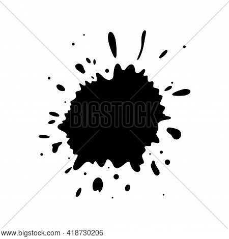 Grungy Silhouettes Of Ink Stains. Set Of Dropping Stains Frames Isolated In White Background. Flat V