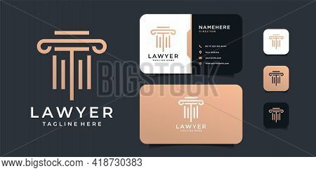 Luxury Law Justice Logo Design Vector With Gold Concept. Logo Can Be Used For Icon, Brand, Identity,