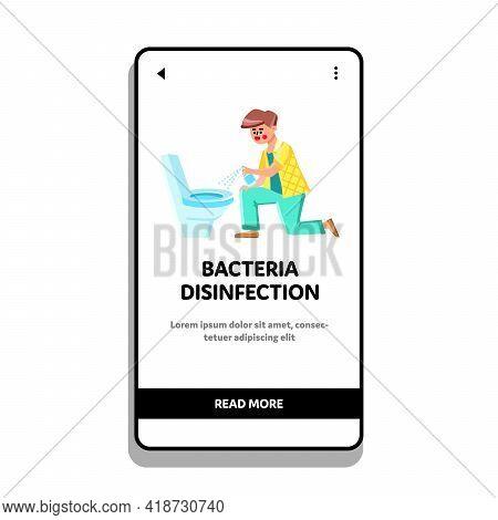 Bacteria Disinfection Spraying Man Toilet Vector. Boy With Bacteria Disinfection Spray Cleaning And
