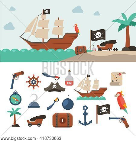 Pirate Icons Flat Set With Treasure Chest Sea Map Jolly Roger Flag Isolated Vector Illustration