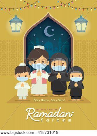 Ramadan Kareem Greeting Illustration. Cartoon Muslim Or Arabian Family Wearing Face Mask Celebrate F
