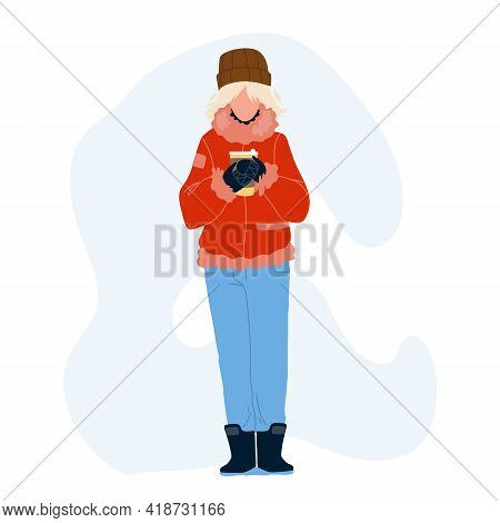 Hot Drink Drinking Woman In Winter Day Vector. Young Girl Wearing Warm Season Clothes Holding Hot Dr