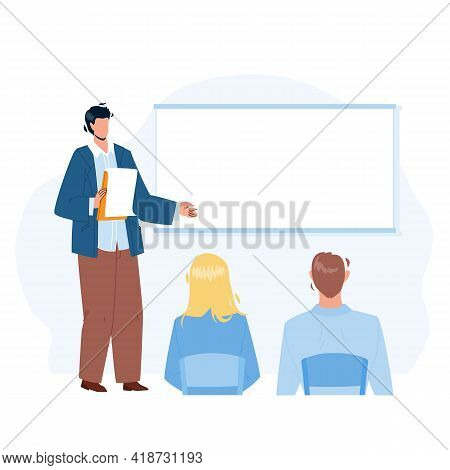 Presentation Company Strategy Speak Worker Vector. Businessman Giving Presentation For Colleagues In