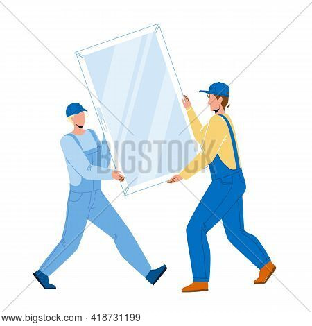 Pvc Window Carrying Men For Installing Vector. Construction Workmen Carefully Carry Pvc Window For I