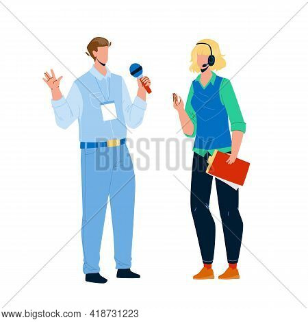 Speaker Man And Woman Speak On Conference Vector. Speaker Boy And Girl Couple Speaking On Business M