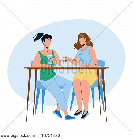 Girls Sitting At Table And Talking Together Vector. Young Women Drink Water And Talking, Gossip Or B