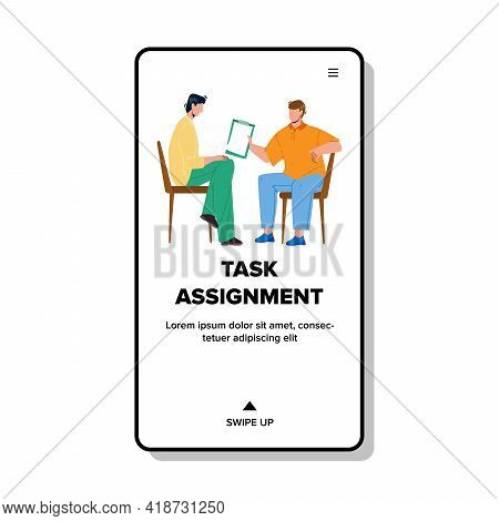 Task Assignment Discussing Businesspeople Vector. Task Assignment Professional Business Occupation O