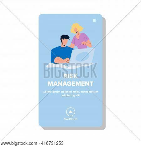Risk Management Business Occupation Team Vector. Businessman And Businesswoman Risk Management And P