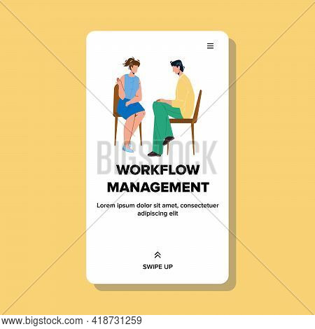 Workflow Management And Planning Process Vector. Workflow Management Ceo With Employee, Woman Discus