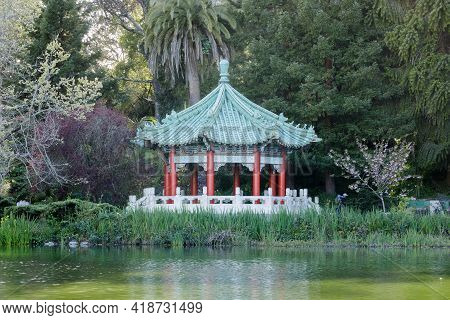 Chinese Pagoda At The Golden Gate Pavilion. Stow Lake, Golden Gate Park, San Francisco, California,