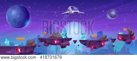 Space Game Level Background With Platforms And Flying Spaceship. Vector Cartoon Illustration Of Cosm