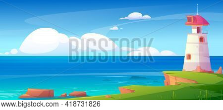 Lighthouse On Sea Shore, Beacon Building At Scenery Nature Ocean Landscape With Blue Water And Rocky