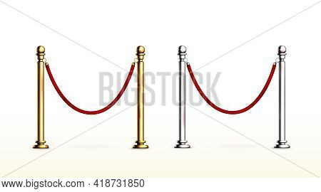 Red Rope Barrier With Gold And Silver Stanchions. Velvet Fence For Entrance To Cinema, Club, Theater