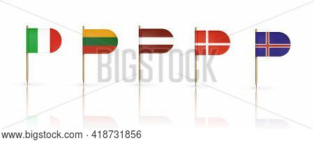 Europe Country Flags On Toothpicks Isolated On White. Denmark, Lithuania, Latvia, Iceland And Italy