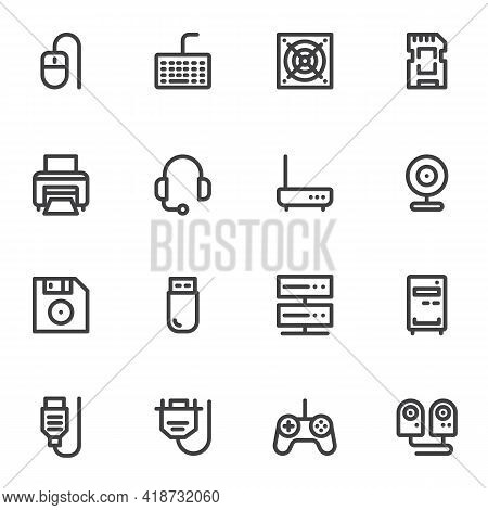 Computer Components Line Icons Set, Hardware Outline Vector Symbol Collection, Pc Parts Linear Style