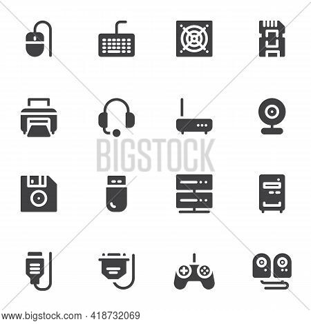 Computer Components Vector Icons Set, Hardware Modern Solid Symbol Collection, Pc Parts Filled Style