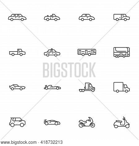 Transportation, Vehicle Line Icons Set, Outline Vector Symbol Collection, Linear Style Pictogram Pac