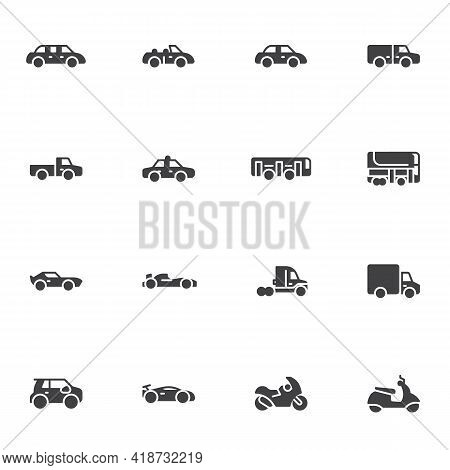 Transportation, Vehicle Vector Icons Set, Modern Solid Symbol Collection, Filled Style Pictogram Pac