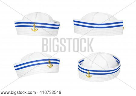 Marine Sailor Hat With Golden Anchor Emblem On A White Background. 3d Rendering