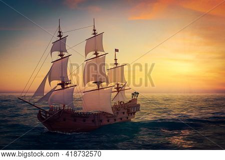 Red Wooden Vintage Tall Sailing Ship, Caravel, Pirate Ship Or Warship In Open Ocean Extreme Closeup.