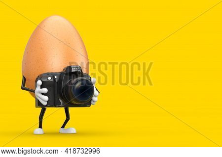 Brown Chicken Egg Person Character Mascot With Modern Digital Photo Camera On A Yellow Background. 3