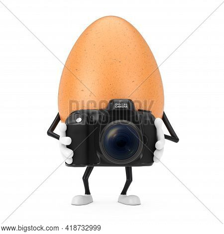 Brown Chicken Egg Person Character Mascot With Modern Digital Photo Camera On A White Background. 3d