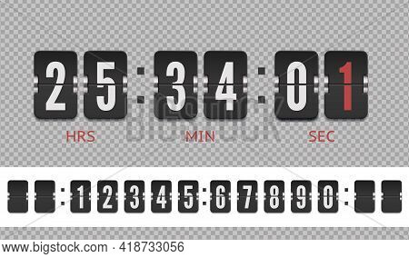 Vector Vintage Flip Clock Time Counter. Analog Airport Board Countdown Timer With Hour Or Minute. Sc