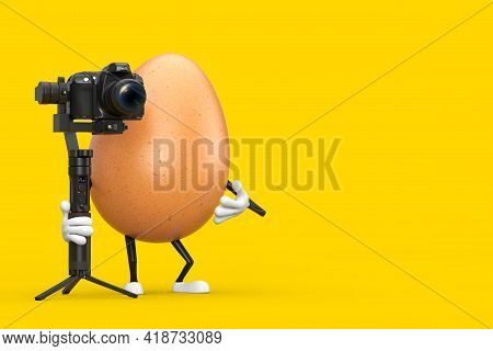 Brown Chicken Egg Person Character Mascot With Dslr Or Video Camera Gimbal Stabilization Tripod Syst