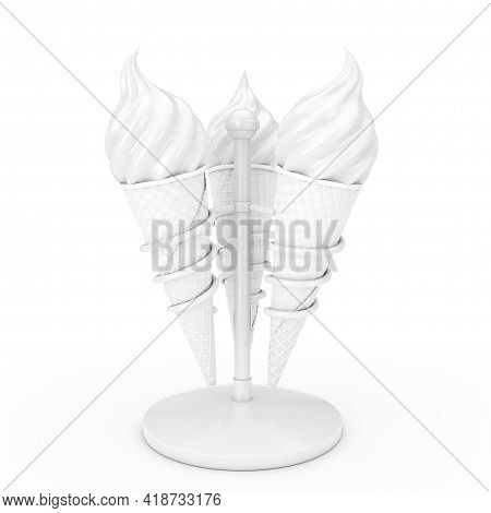 Soft Serve Ice Cream In Waffle Crispy Ice Cream Cones In Holders As Clay Style On A White Background