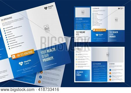 Tri-fold Brochure Template In Modern Style With Space For Photo. Universal White Design For Business