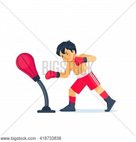 Young Hardworking Boxer Learning To Blow The Punching Bag At Sport Center, Effective Training Proces