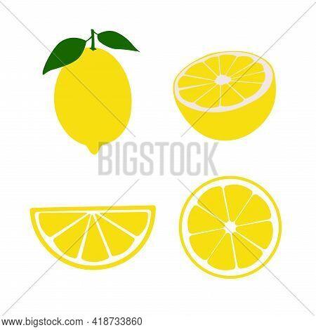 A Set Of Lemons - Lemon Whole, Slice, Half.