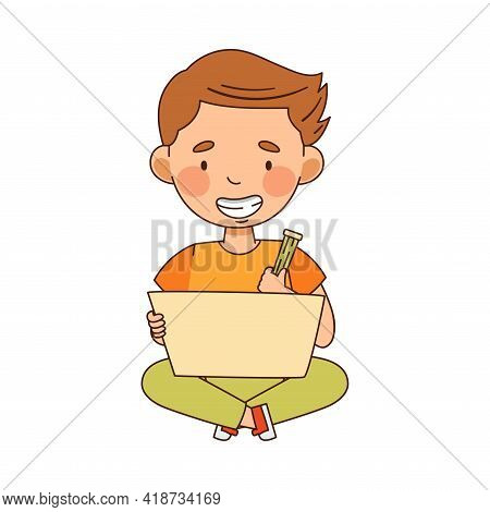 Little Boy In Kindergarden Sitting On The Floor With Pencil And Drawing Vector Illustration