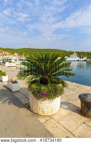 Vis, Vis Island, Croatia - September 6, 2019 : A Boulevard On The Adriatic Sea, A Port For Yachts An