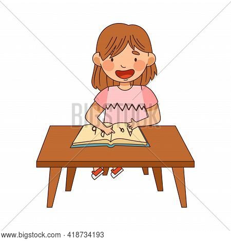 Little Girl In Kindergarden Sitting At Desk With Book And Learning English Alphabet Vector Illustrat