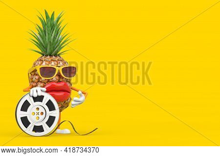 Fun Cartoon Fashion Hipster Cut Pineapple Person Character Mascot With Film Reel Cinema Tape On A Ye
