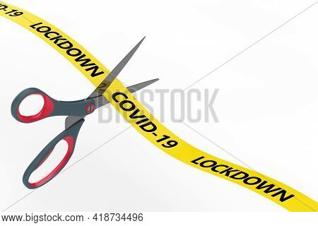 The End Of Lockdown Concept. Scissors Cut Yellow Ribbon With Covid-19 Lockdown Sign On A White Backg