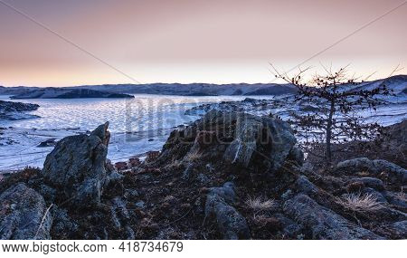 Dawn In Siberia. The Sky Is Pinkish. Reflections Of The Sun On The Ice Of A Frozen Lake. In The Fore
