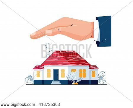 Protect Your Home Vector Illustration. Male Hand Is Protecting The House Building. House Insurance,