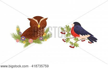 Perching Bird Sitting On Floral Twig And Nest With Blossoming Flowers Vector Set