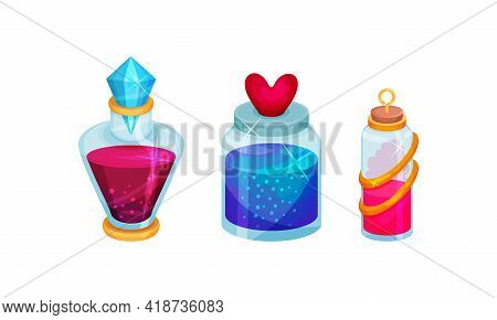 Corked Glass Jars With Magic Liquid Potion Vector Set