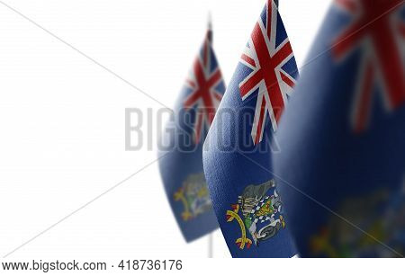 Small National Flags Of The South Georgia And The South Sandwich Islands On A White Background
