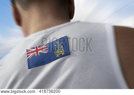 The National Flag Of South Georgia And The South Sandwich Islands On The Athletes Back