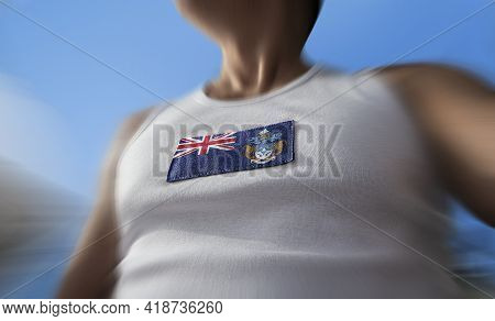 The National Flag Of Tristan Da Cunha On The Athletes Chest