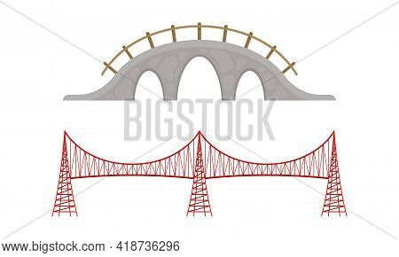 Straight And Arch Bridges Made Of Metal And Concrete With Baluster Vector Set