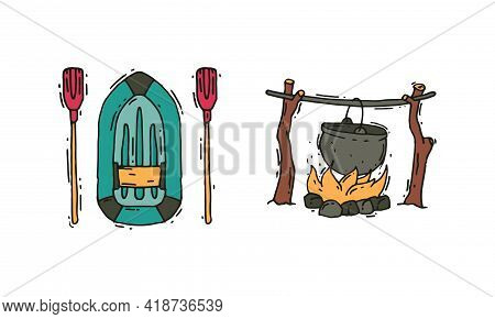 Camping And Expedition Equipment With Boat And Campfire With Boiling Cauldron Vector Set